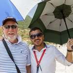 Hakan on the right - it is wise to take an umbrella for protection from the sun
