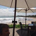 view along Kuta Beach from Boardwalk Cafe