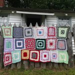 More than 300 local knitters yarn bombed Discovery Harbour to celebrate 200 years of peace.