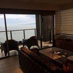 Living room with balcony overlooking Beppu bay