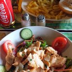 Great chicken caesar salad and burger.