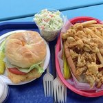 haddockwich, cole slaw and whole clam roll with fries