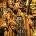 Altarpiece detail of Judas and Jesus