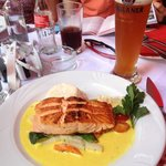 Salmon in saffron sauce - I think it is called Norwegian Salmon on the menu...