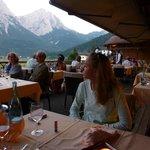 la belle terrasse avec vue sur le Zugspitz