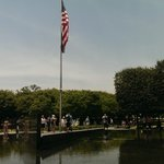 The flagpole and pond
