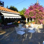 Lovely patio area where you all meet for pre meal drinks