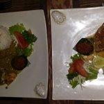 Tuna dish (on the right)