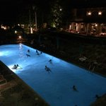 Pool area at night, open until 10 pm