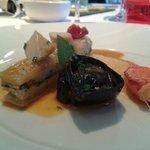 La pince gauche en tortellini blette poulpes de roche au basilic réglisse