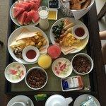 In-room breakfast spread