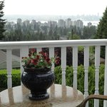 private patio and view of Vancouver skyline (a little grey that day)