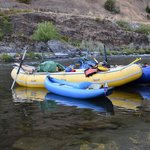 early morning rafts in the river