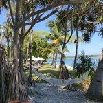 vue du jardin devant la plage