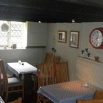 Moonrakers ~ and the interior of Tea Room.  Cosy and a lovely building