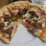Moonraker ~ the new Meat Feast Pizza.  Fully loaded &, tasty.  Needed some pepper, or mushroom,