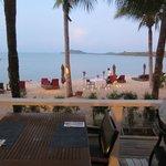 sunset dinner on the beach taken from the Tamarind bar