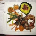 Lobster with rice and vegetables