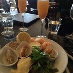 My seafood starter at Sunday brunch (only one of the Bellinis is mine!)