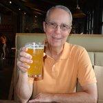 Enjoying a delicious beer!