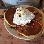 Peanut butter pancakes (there's 5 pancakes on the plate)