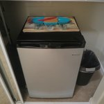 Mini fridge with plenty of space. We stored our bread, peanut butter and jelly in here
