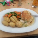 Chicken and leek pie  Ropey veg  with new potatoes