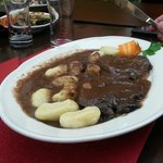 House-speciality: Beef in Red Wine sauce and gnocchi