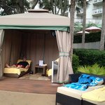 Our cabana. $150/day for tv, stocked fridge, 2 towels to keep. you can also book 1/2 days. Our f
