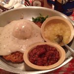 Chicken fried steak with baked beans and apple sauce