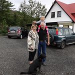 Owners Gudrun and Valur with grandaughter and dog