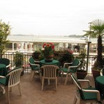 Terrace on a first floor overlooking the voporetto station and San Marco