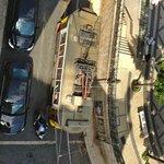 tram 28 passing below our window