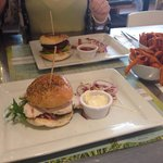 Beef burger and chicken burger with sweet potato fries