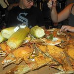 A table full of crabs.