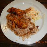 typical Belize dish with chicken, rice, & beans