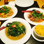 Duck, Award winning cod curry, Stir fried spinach and egg fried rice main courses