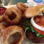 Crab cake sandwich and house made onion rings