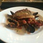 Seared sea bass with Provençal veg and sautéed potatoes