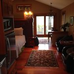 Friday Harbor Suite: Standing in the front entryway/kitchen, looking towards the back balcony