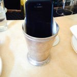 my cell phone in a mint julep cup (a lat the bartender)