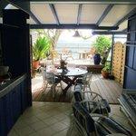 outdoor kitchen & sitting areas
