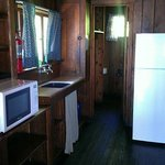 Kitchen and bathroom of deluxe cabin