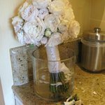 My bridal bouquet resting in our room.  (We asked for some kind of vase & our bellhop brought on