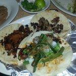 Tacos Al pastor, chorizo, and asada.