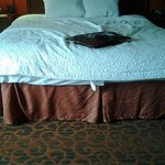 """This was how housekeeping """"made the bed"""" the second day."""