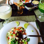 Banana Coconut smoothie and a delicious mexican ceviche.