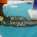 The welcome sign on our table