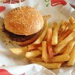 Juicy burger and crisp fries