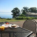 Eating breakfast on the patio